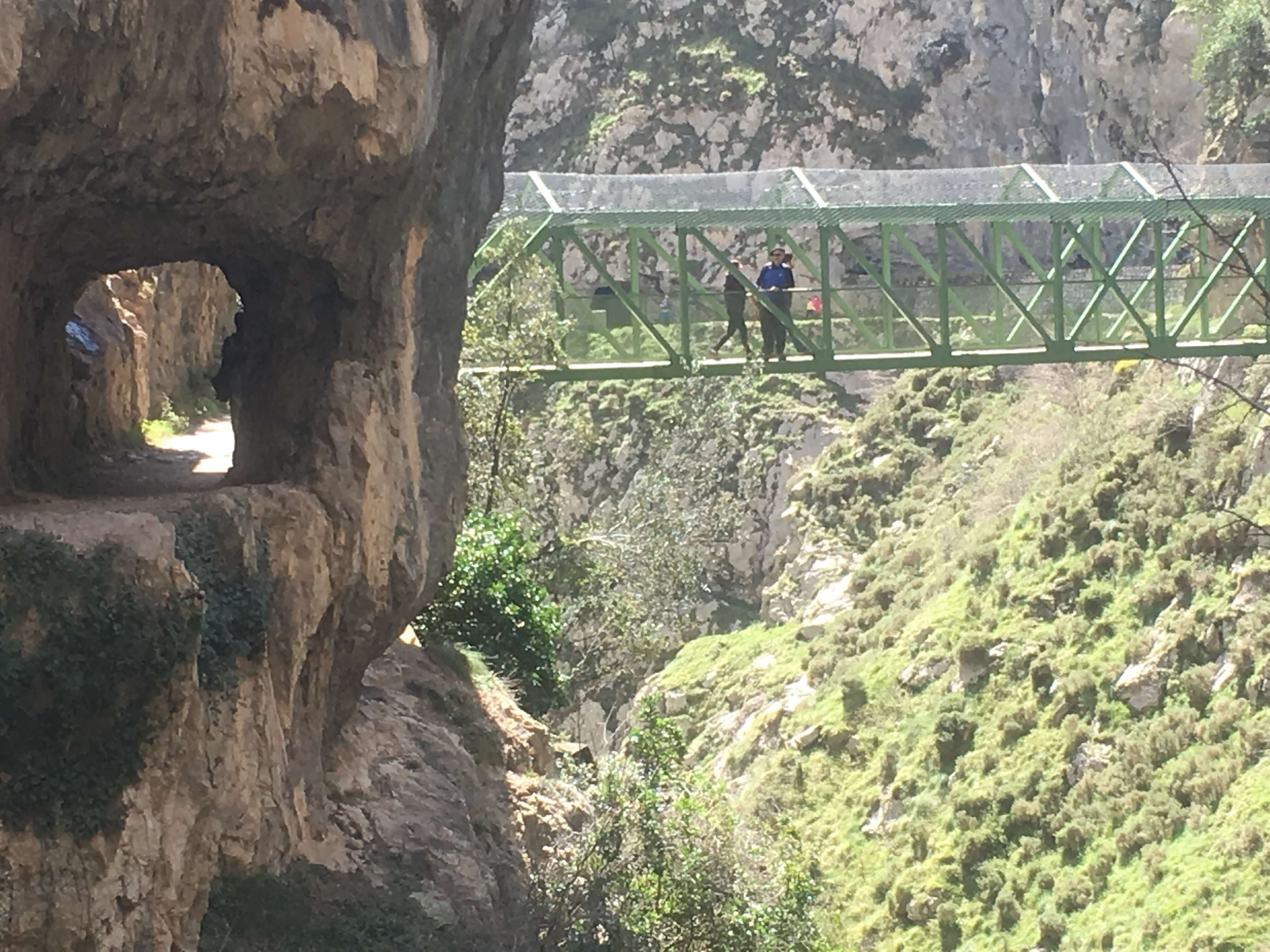 Suspension bridge across a deep gorge on the Cares River trail