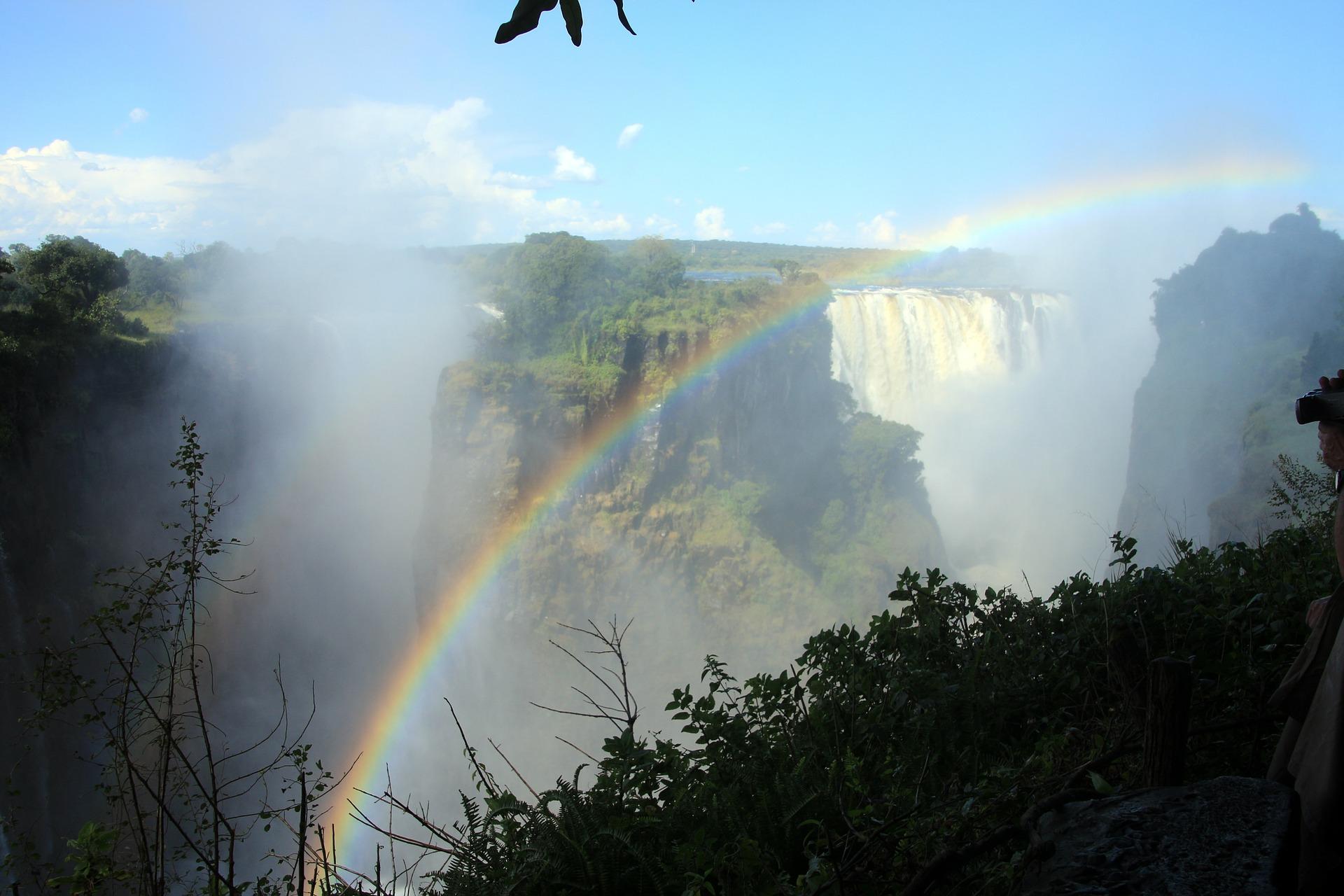 Rainbow over the Zambezi River at Victoria Falls