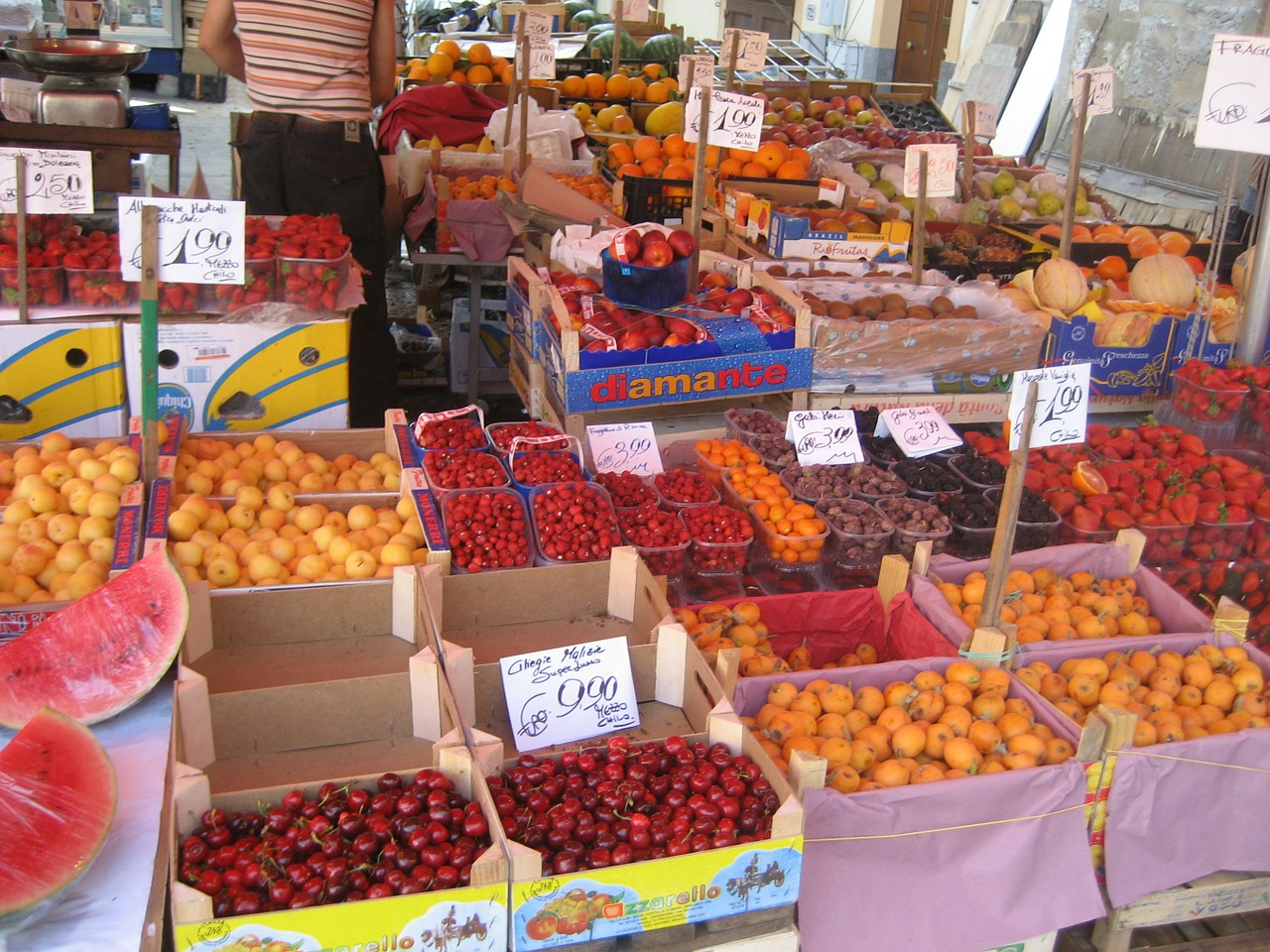 Colorful fruit markets in Palermo.