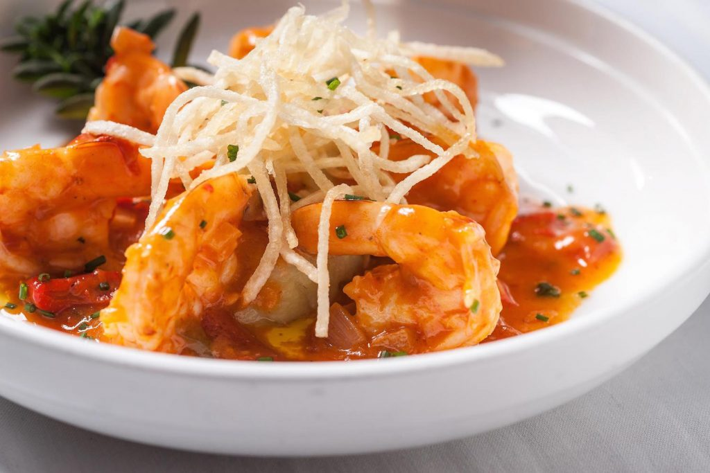 a photo of shrimp Cuban cuisine at Victor's Cafe. Cuban restaurants in New York City