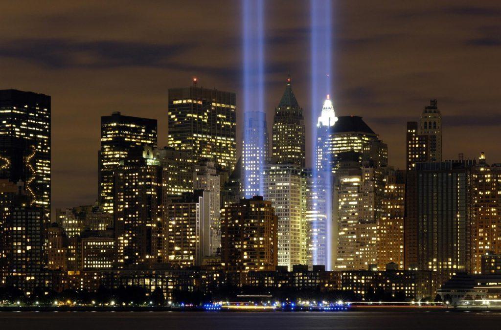 Twin Tower beams at night