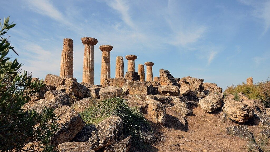 Temple of Hercules in Valley of the Temples in Agrigento