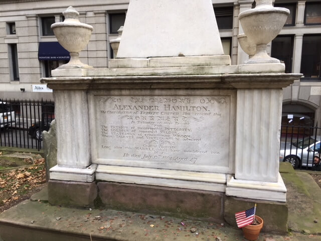 Alexander -Hamilton's- tomb in famous cemetery of Trinity