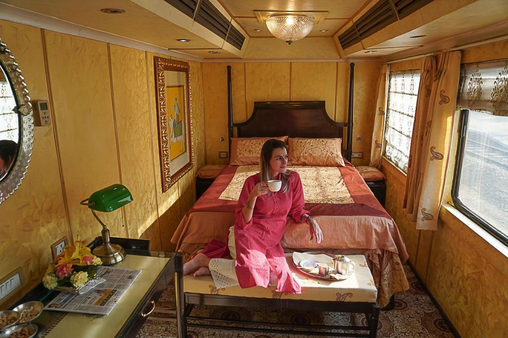 Indian train interior. Luxurious train vacations