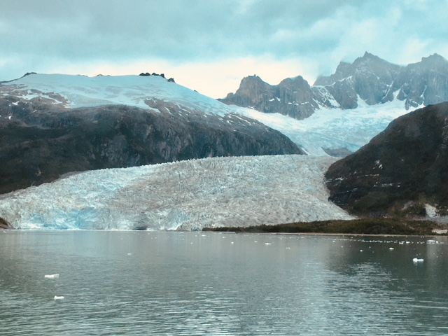 Lake with glacier you see when you cruise Cape Horn and the Straits of Magellan Cruise
