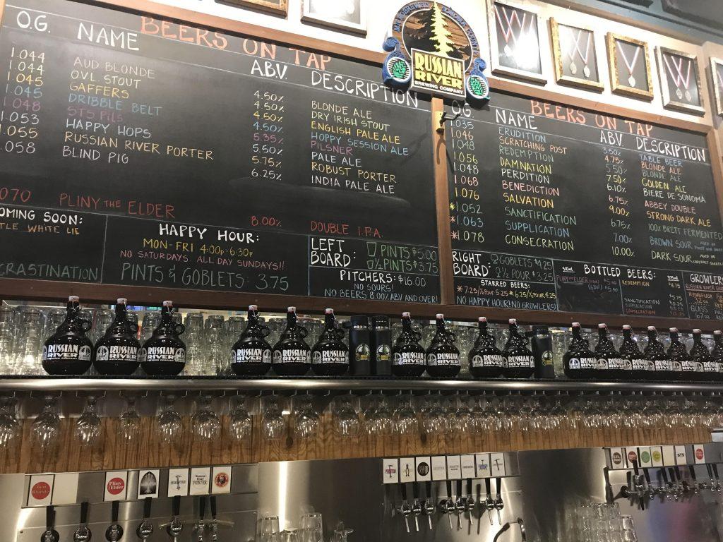 Menu board at an American Brewery