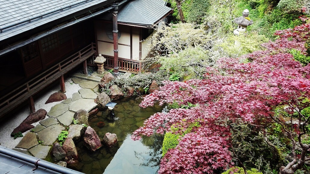 Gardens and koi pond at a Japanese temple stay