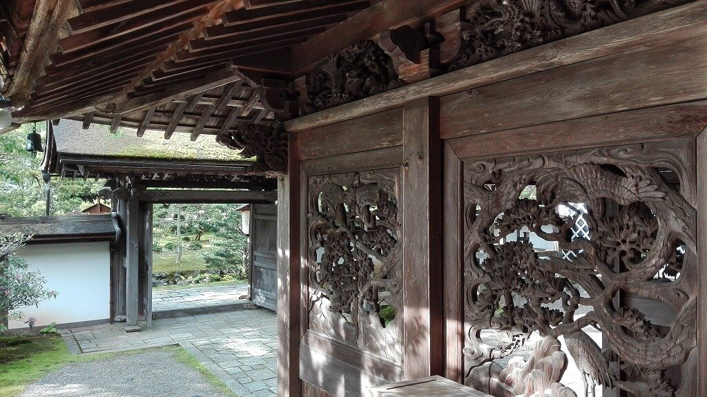 Wooden architecture at a Japanese temple stay