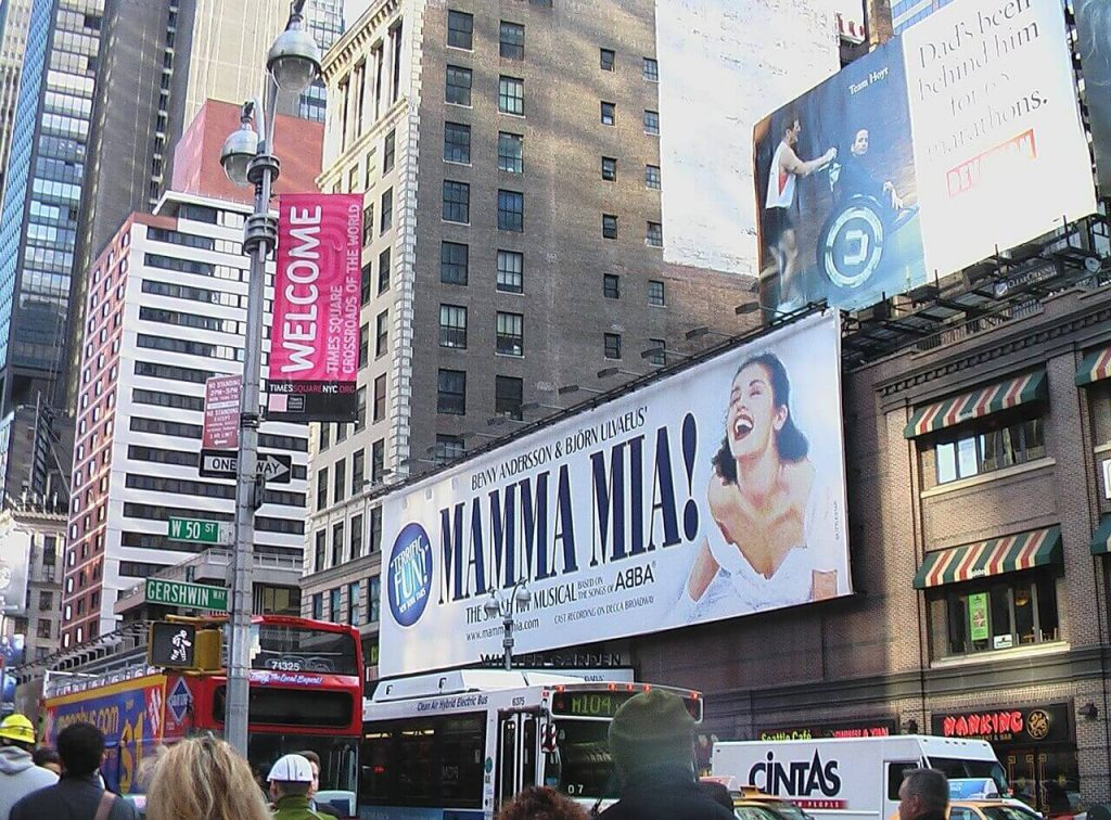 Where to go after a Broadway show. Times Square signage