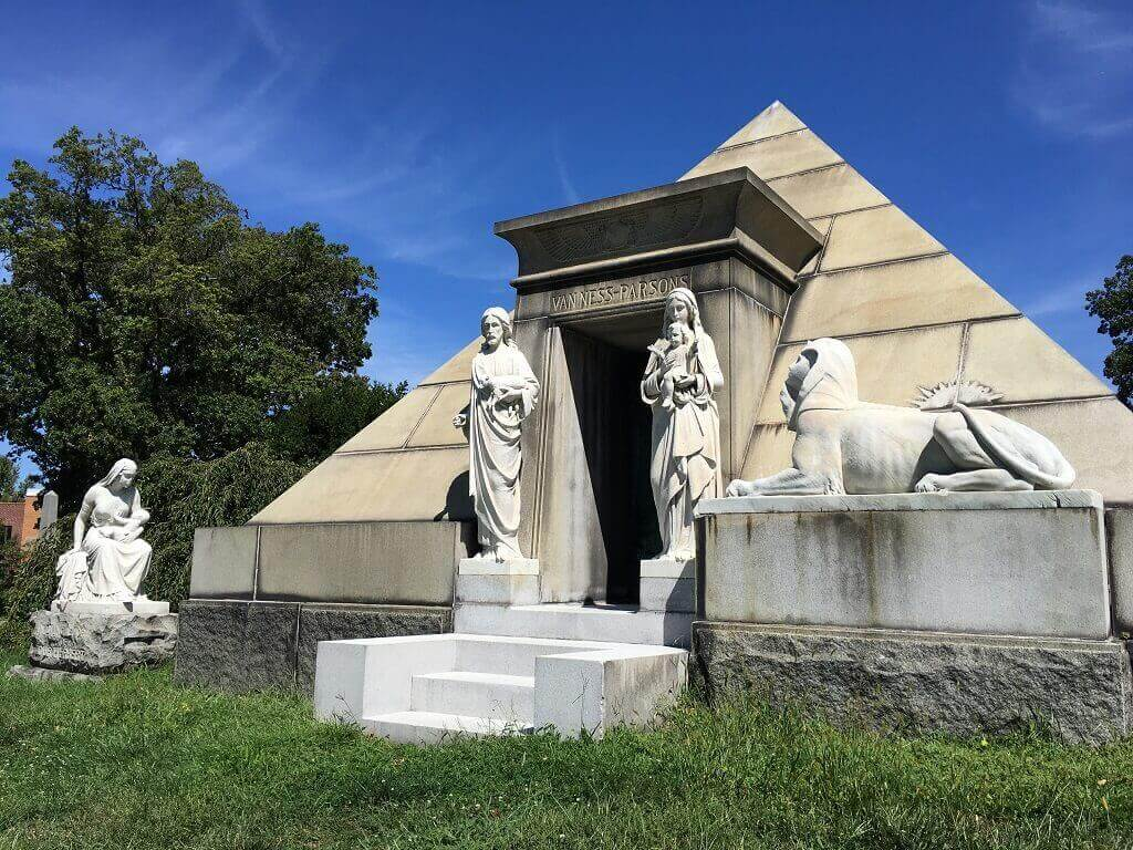 Pyramid designed tomb in Green-Wood Cemetery