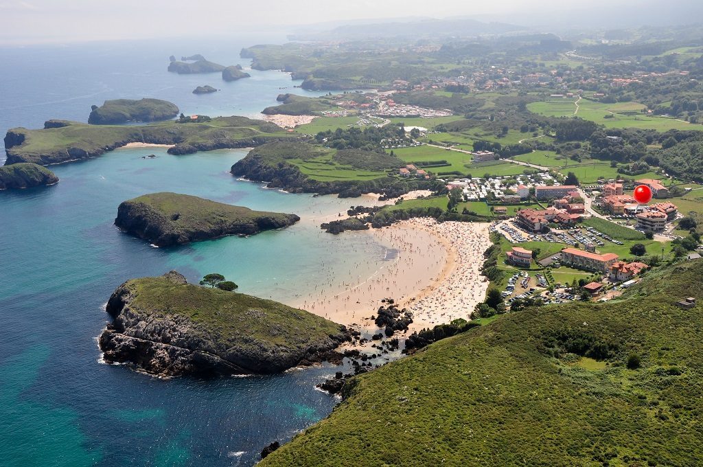 Aerial vista of Llanes, a town on the itinerary of Asturias