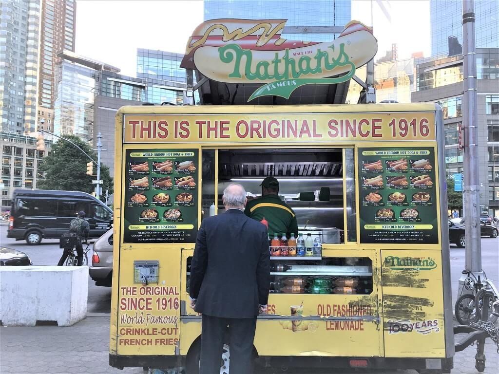Nathan's Famous hot dog stand.