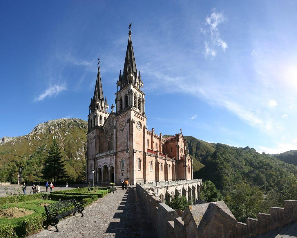Covadonga Basilica on the itinerary of Asturias