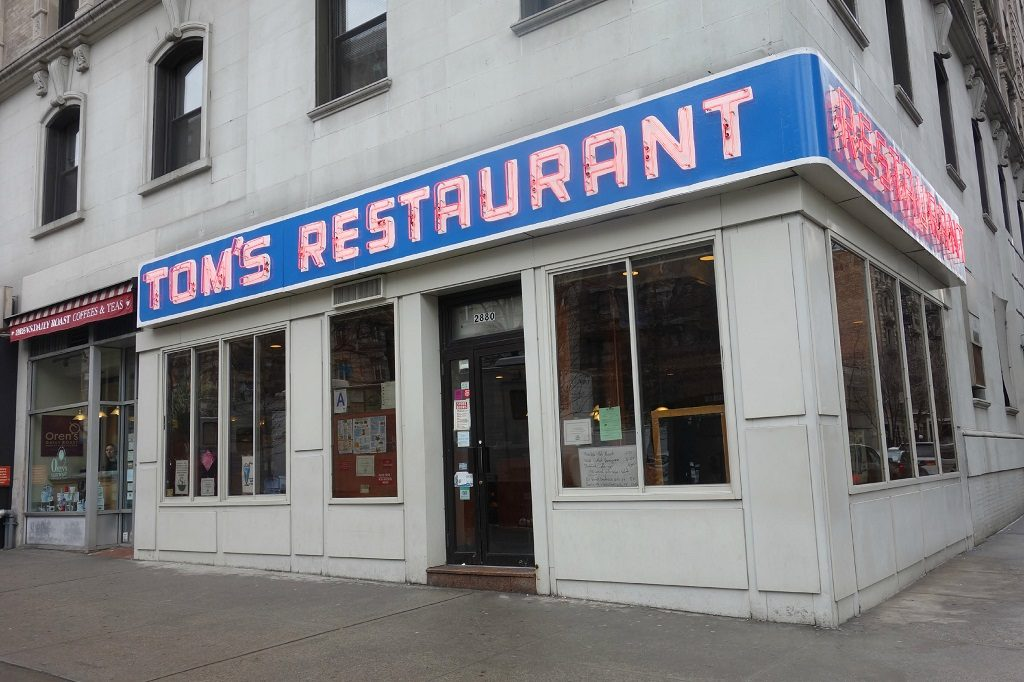 Monk's diner storefront. Famouls places to eat in NYC