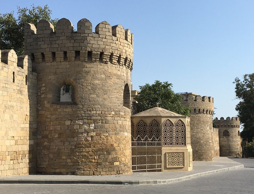 Protective wall surrounding Old Town Baku