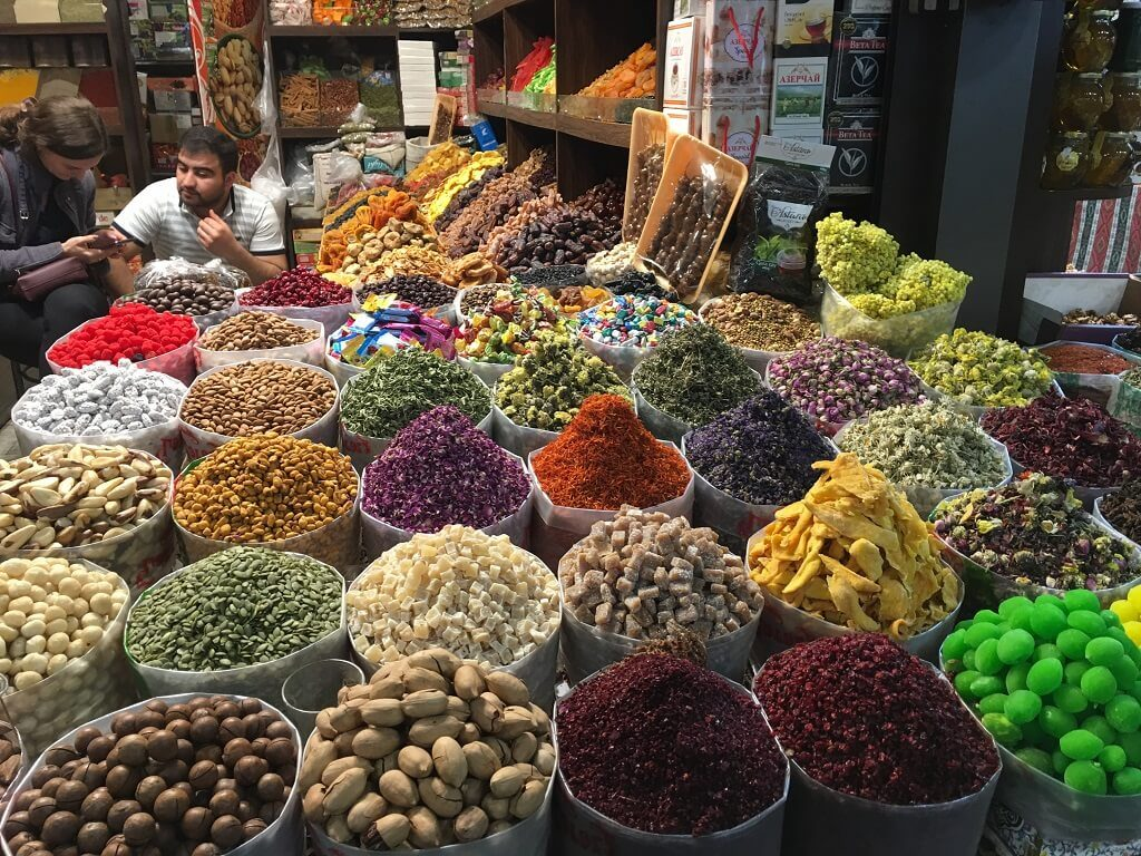 Dry fruits in Yasil Bazaar in Baku. laces to visit in Baku