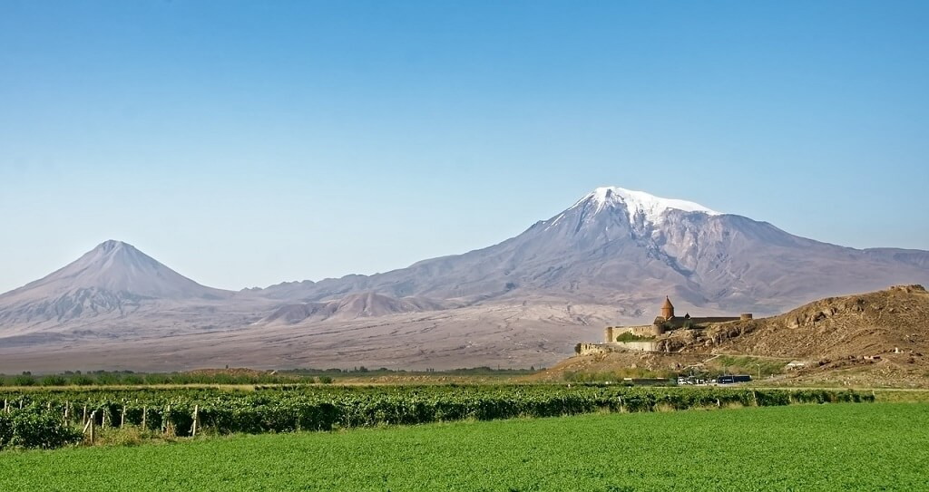 Armenian monastery and Mount Ararat in background