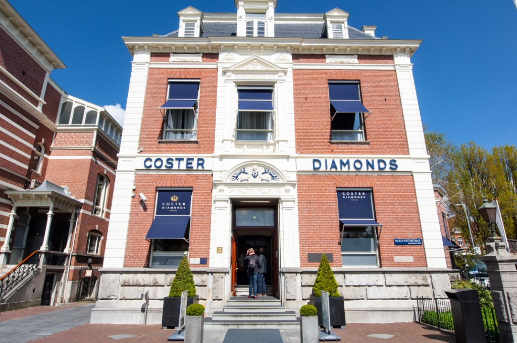 Exterior of Coster Diamonds in Amsterdam - One of the Hidden Gems in Amsterdam
