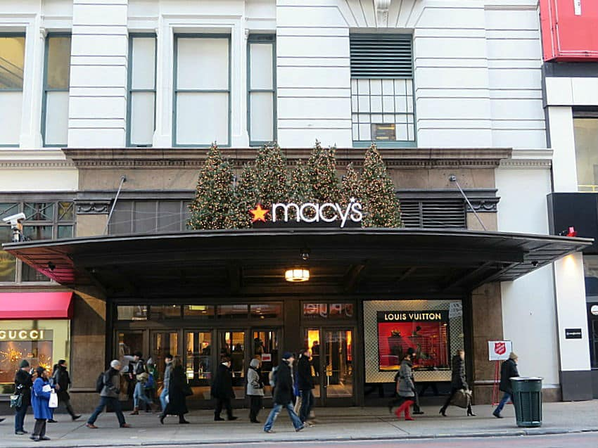 NYC Exterior of Macy's at Christmas