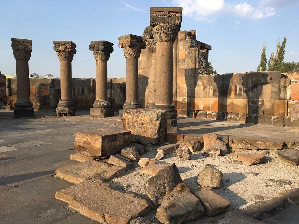 Ruins of Zvartnots Cathedral in Yerevan