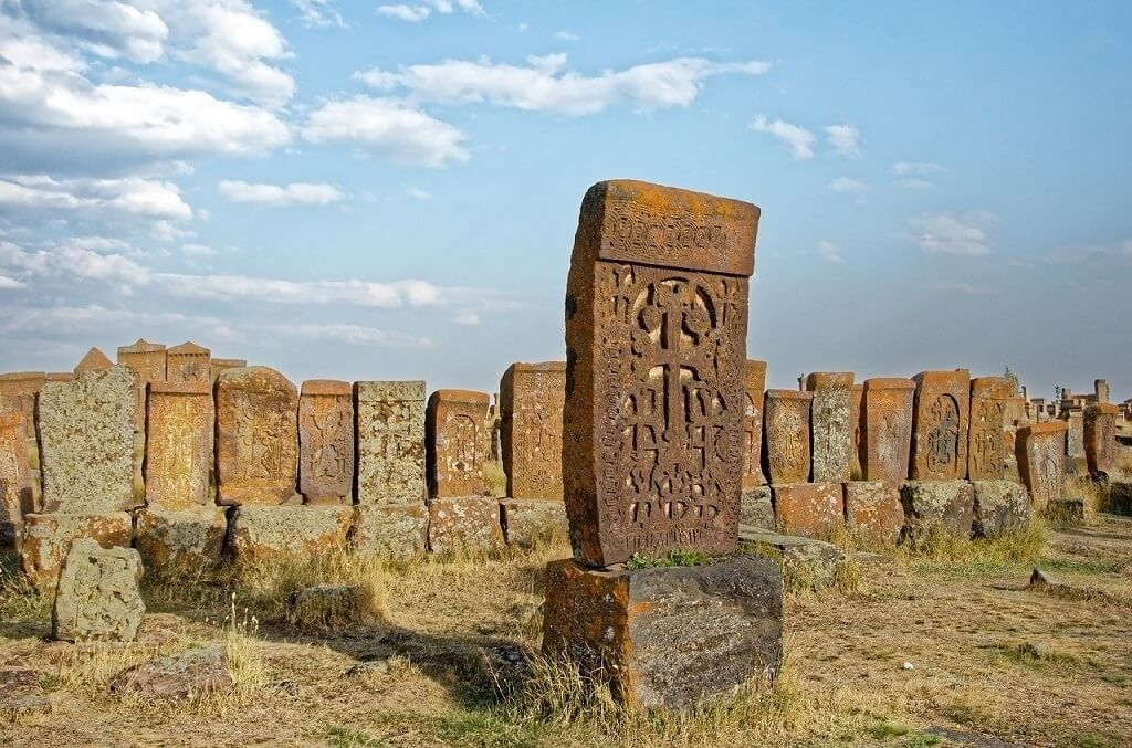 Armenian khachkars at Novratus, one of the best places to visit in Armenia