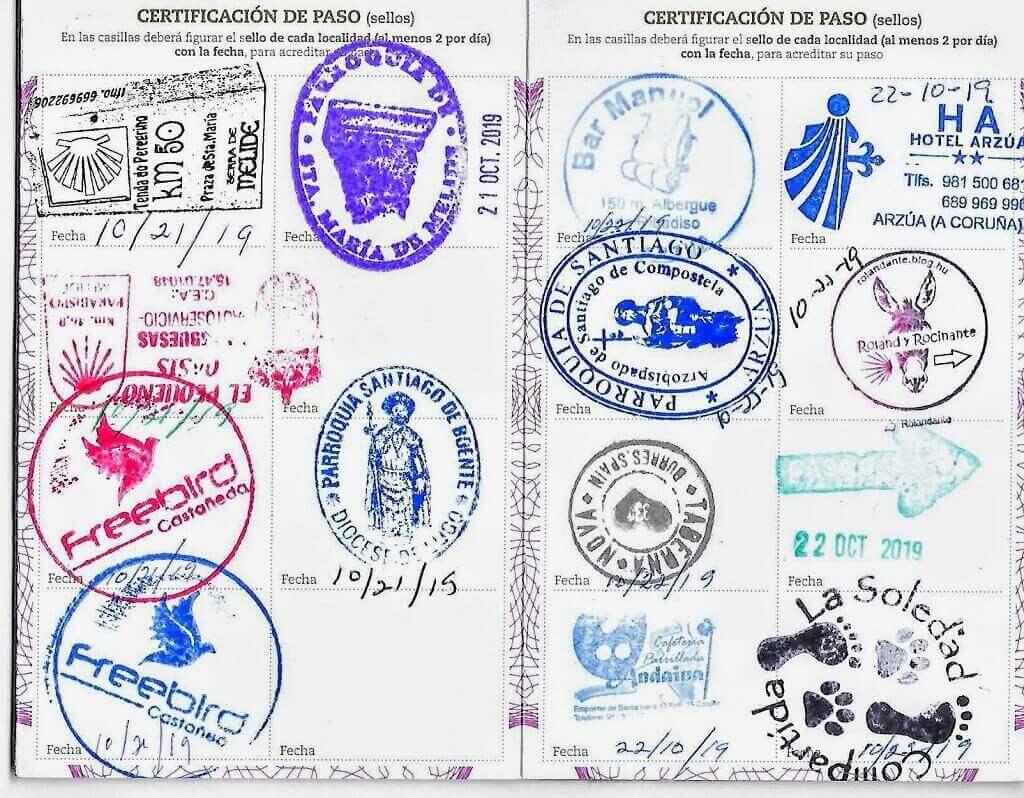 verification stamps on the Camino de Santiago