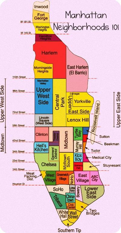 Map of neighborhoods in Manhattan
