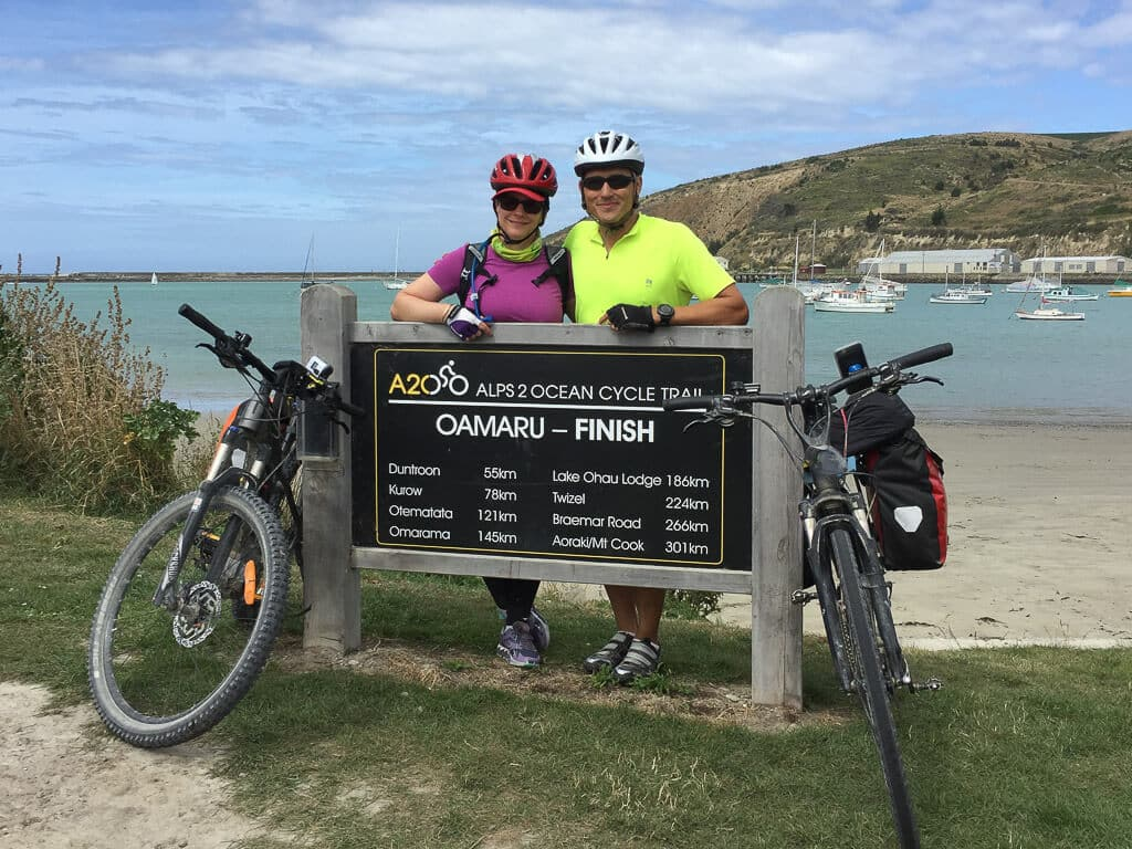 Author with partner, cycling to loose weight