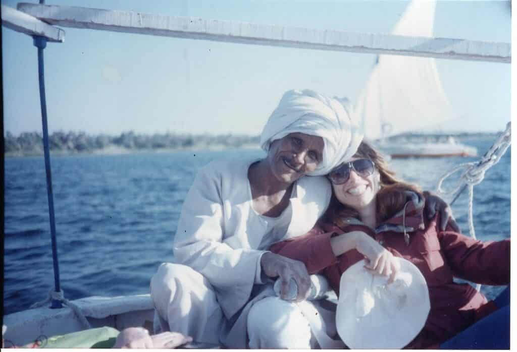 Journal writer, Ann Hamer with Egyptian friend on a boat