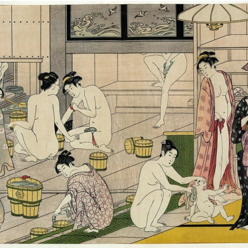 painting of Japanese women bathing