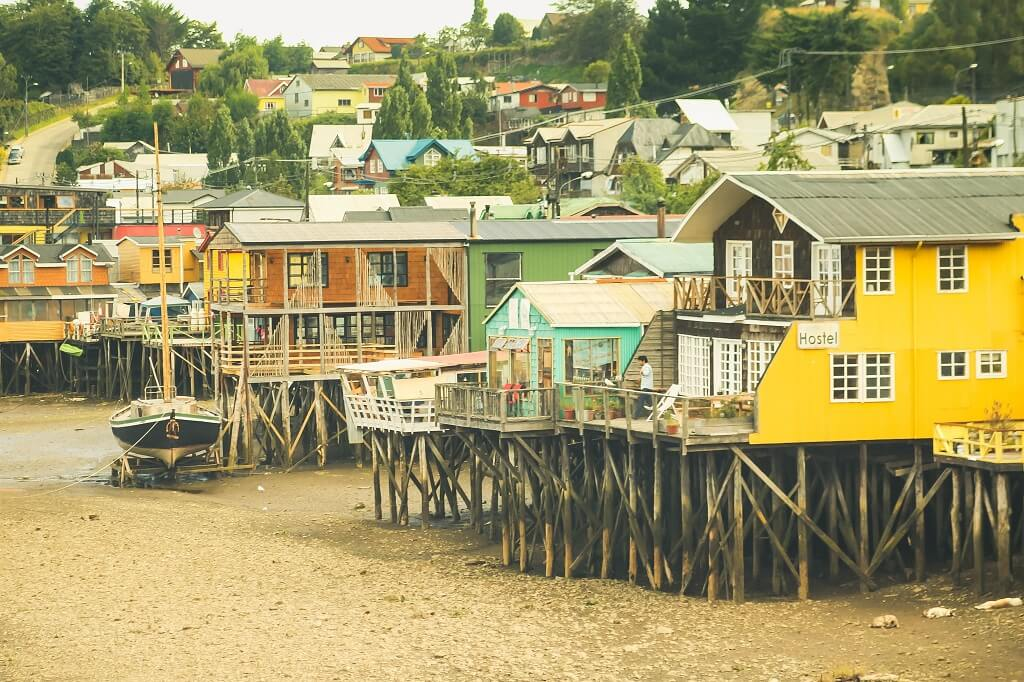 Houses on stilts in Chiloe Island, Chile