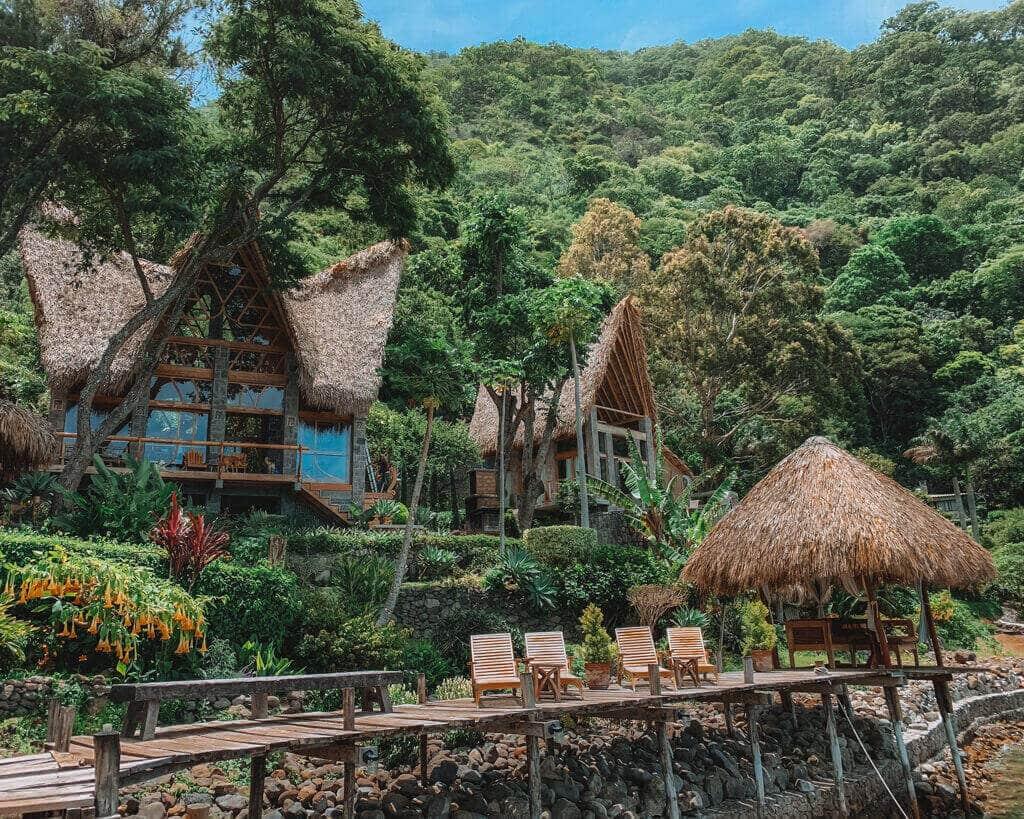 Huts in the jungle in Guatemala