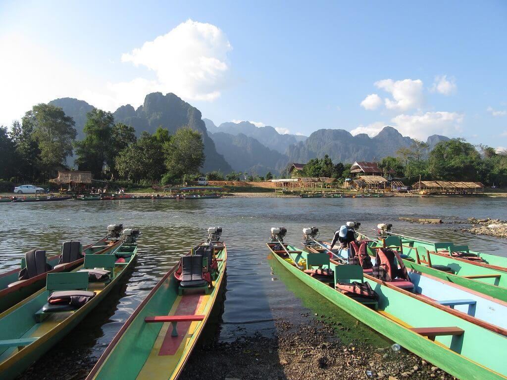 Boats in Luan Prabang in Laos