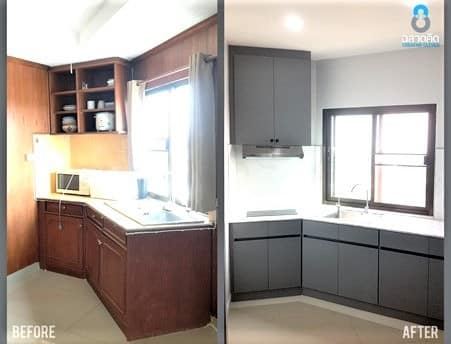 Before and after kitchen renovations.