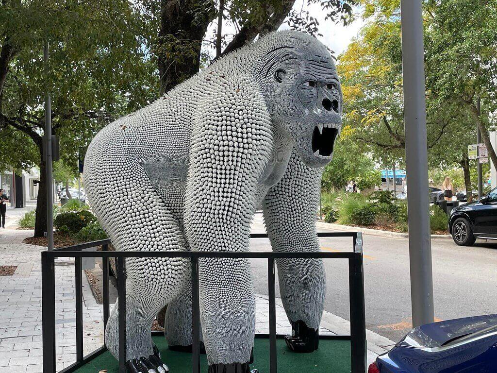 A gorilla statue, artwork in Miami's Design District.