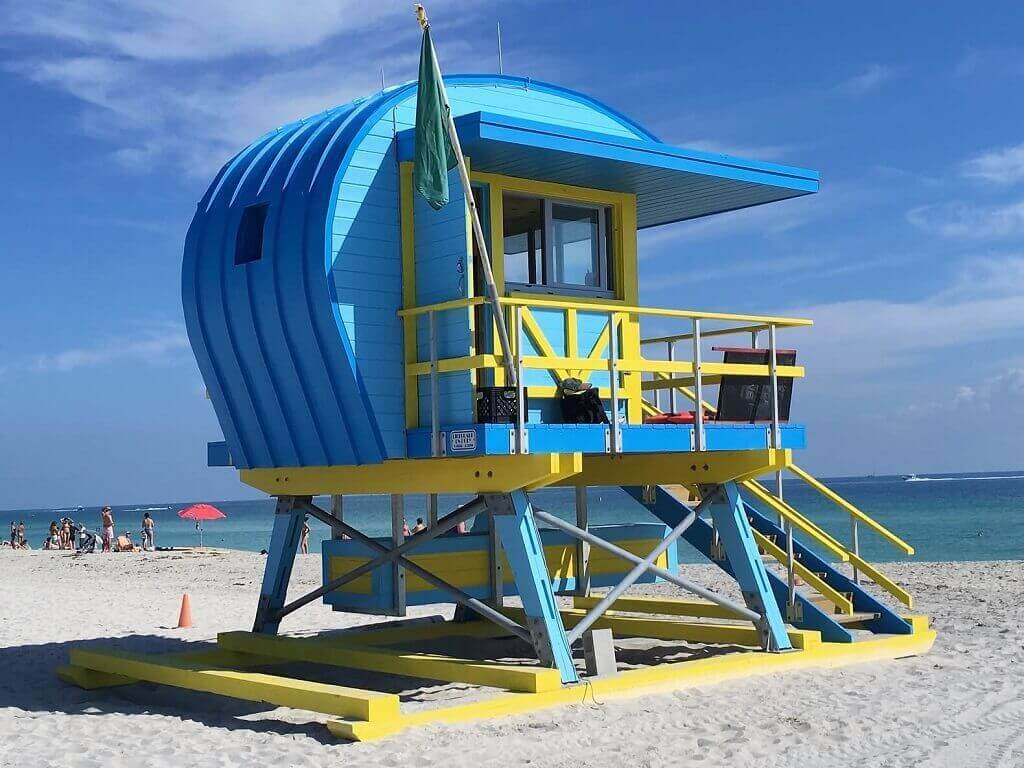 Lifeguard stand in Miami Beach, the most recognized Miami beighborhood.