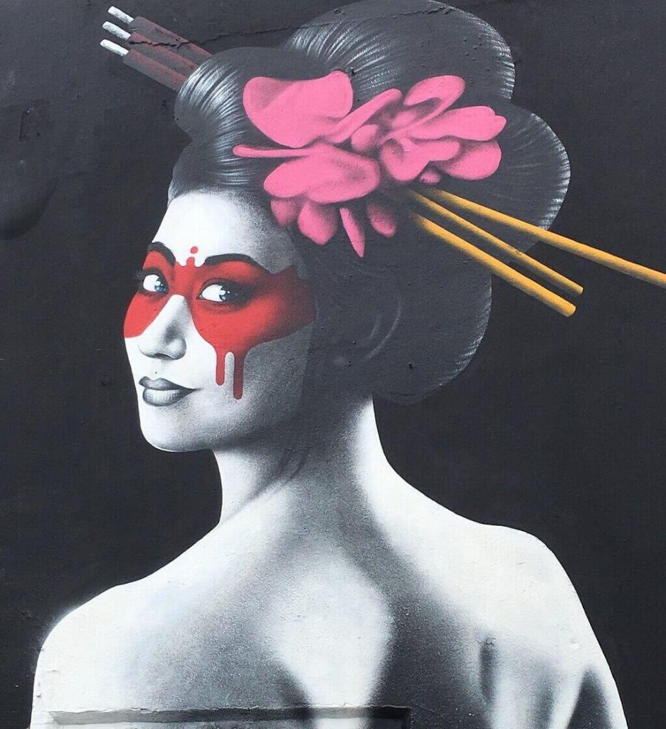 Japanese woman street art in Wynwood.