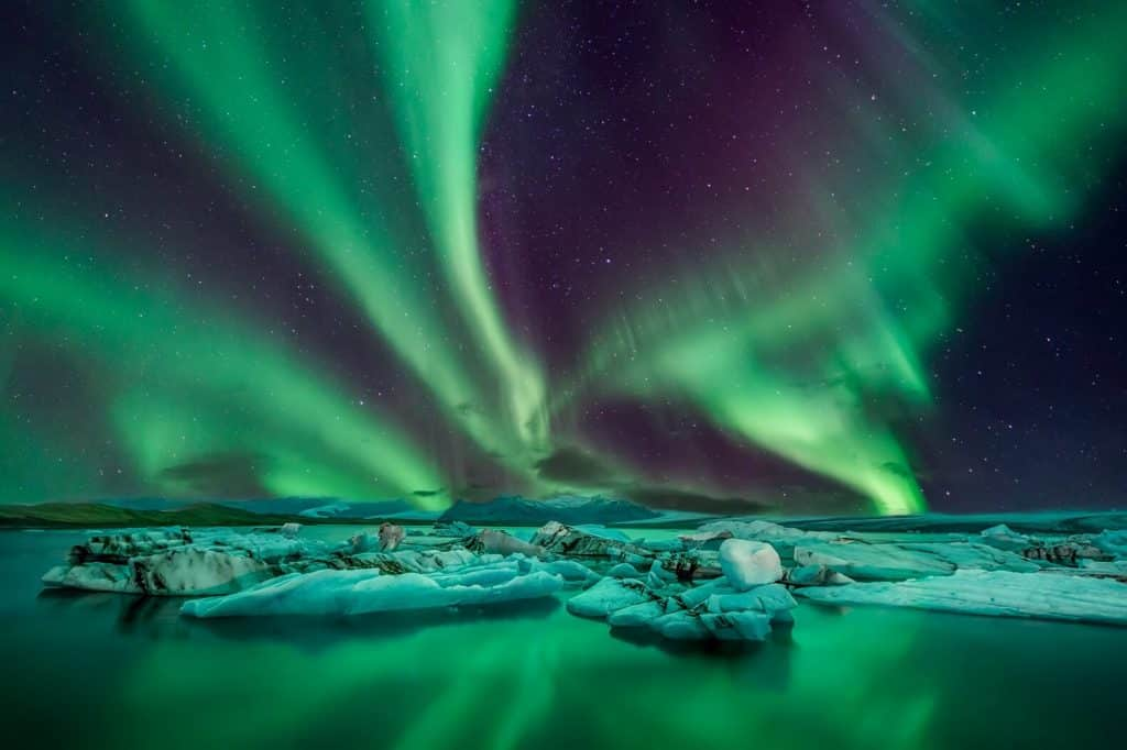 The green colored Aurora Borealis in Iceland