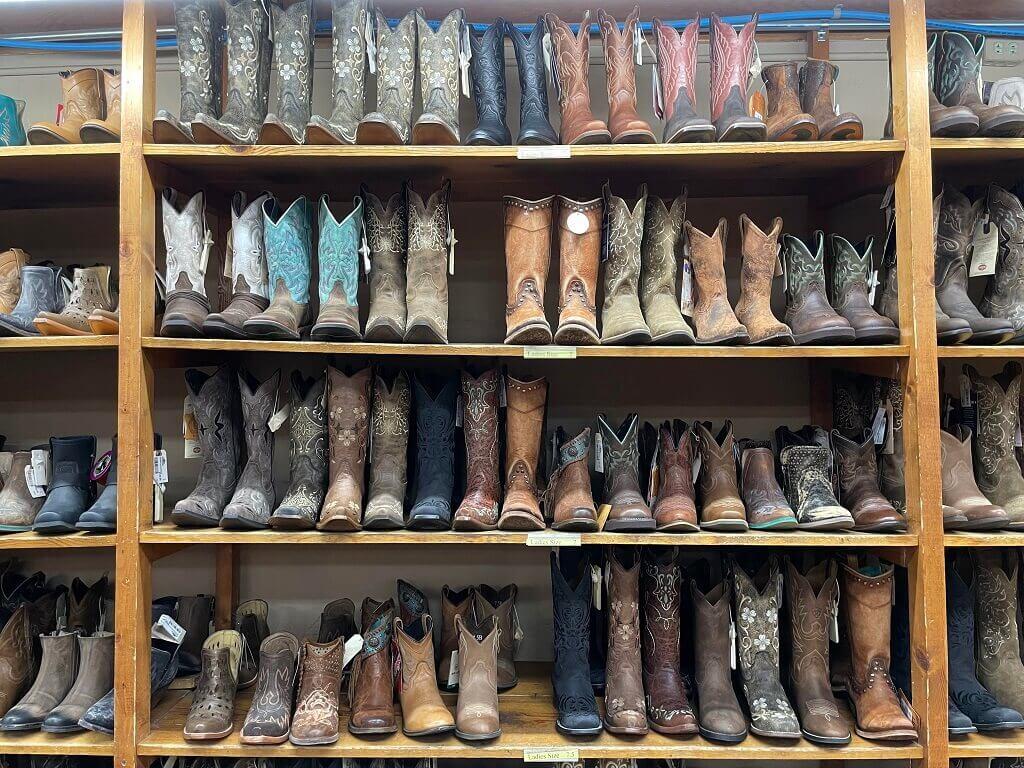 Cowboy boots on display