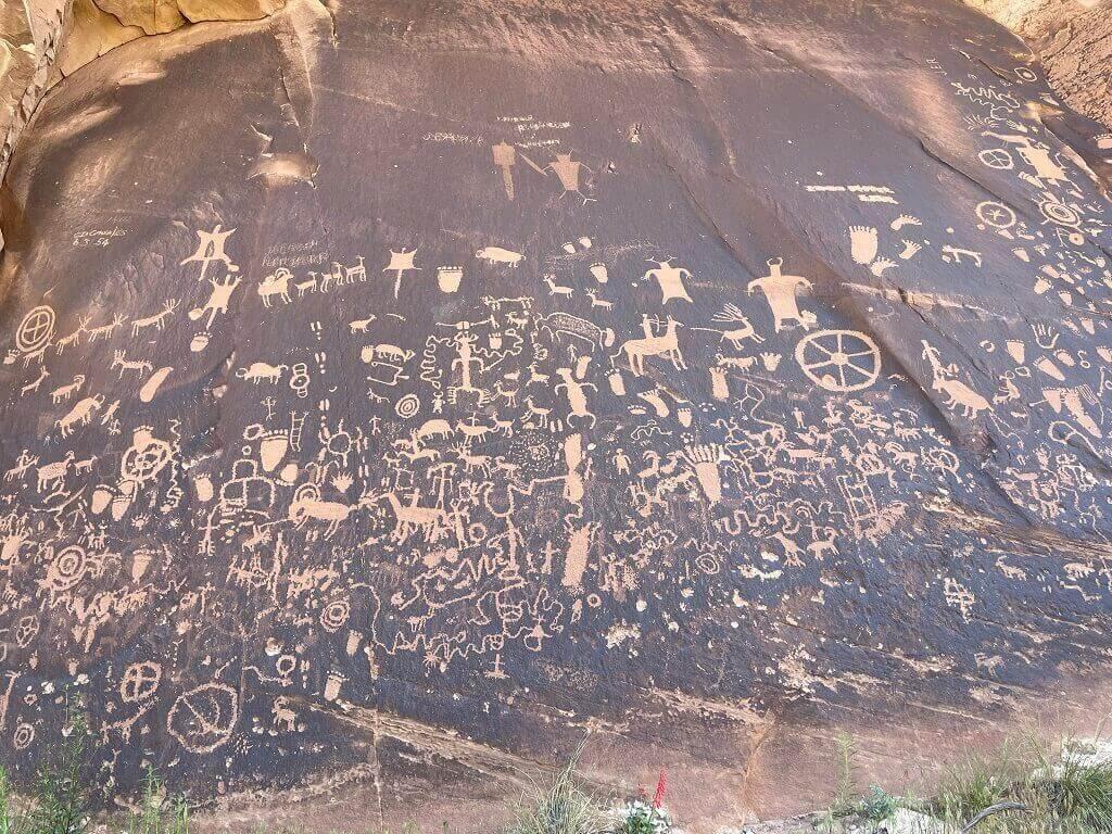 Native American rock carvings in Utah that can be seen on a Utah to Colorado road trip.