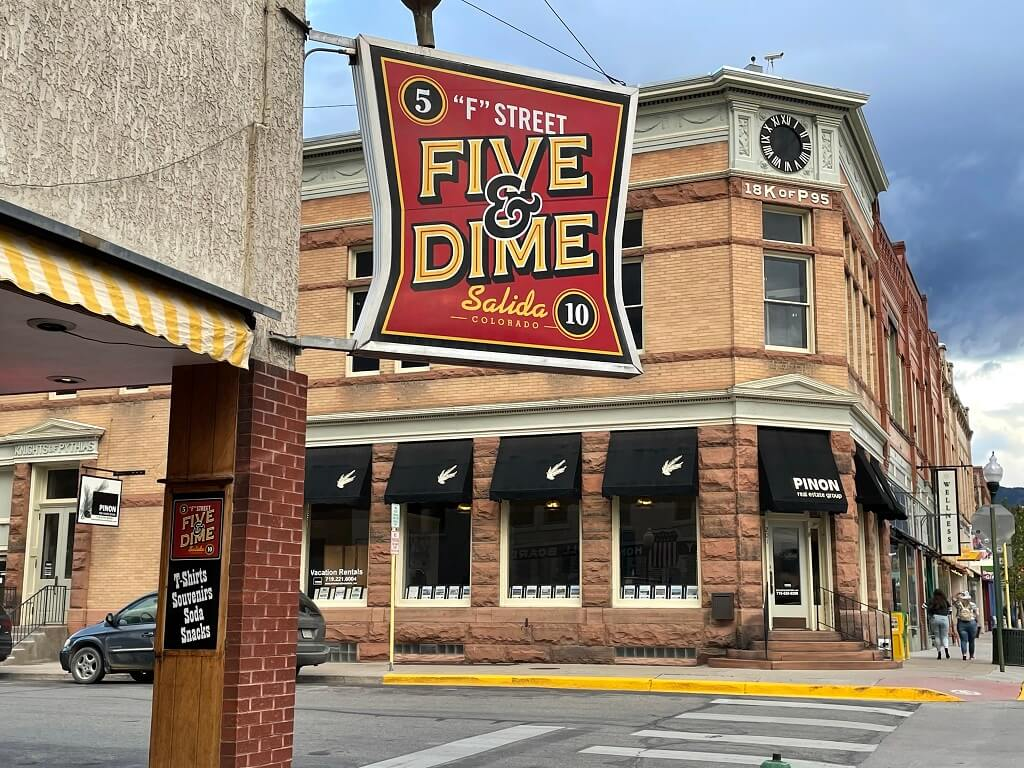 A sign for a five and dime in Salica, in southwestern Colorado