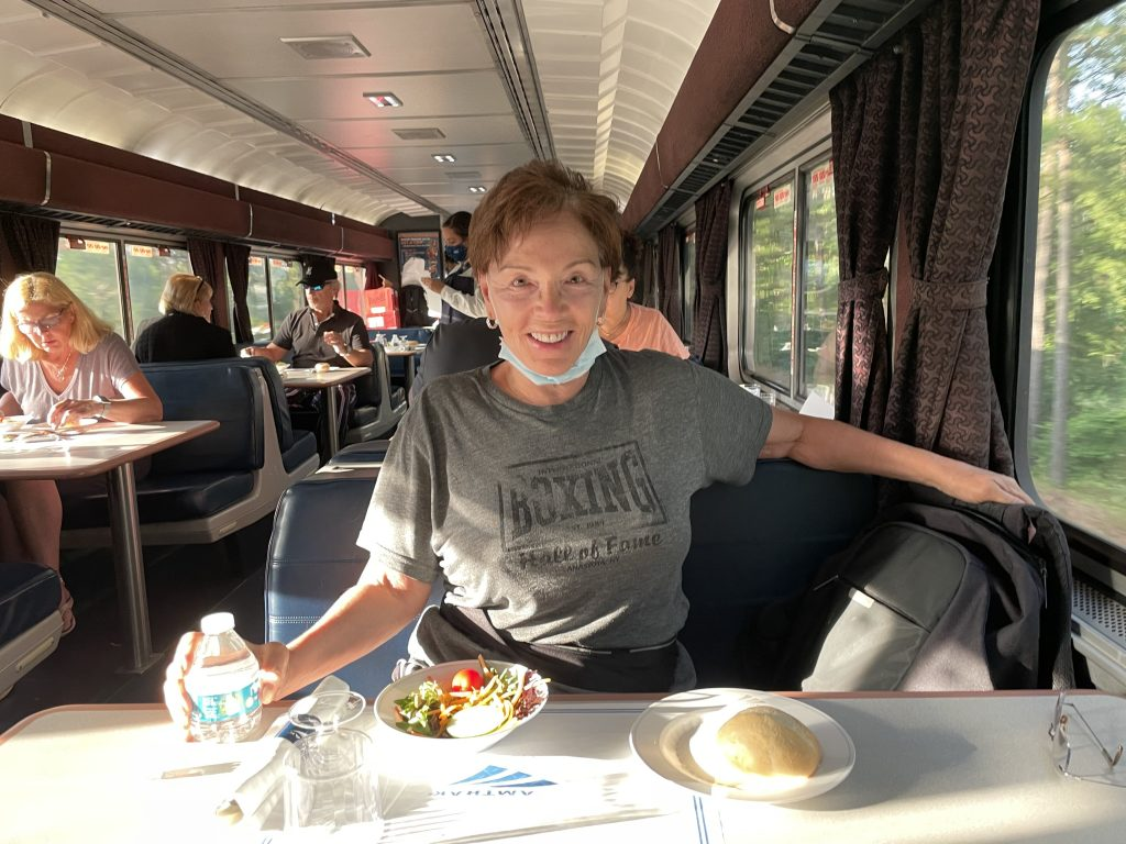 Talek in the dining car of the Amtrak auto train