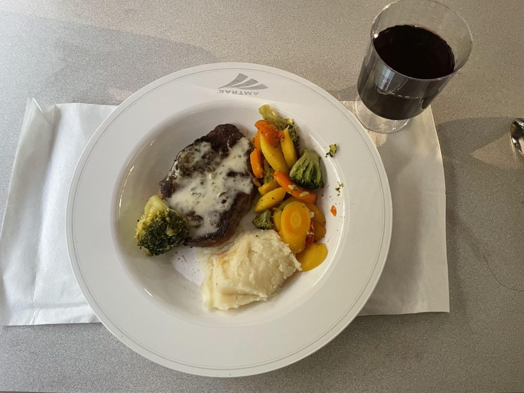 dinner in the Amtrak auto train dining car