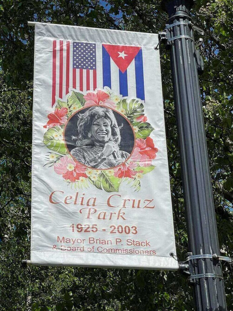 Banner at the Celia Cruz Park in Union City, New Jersey.