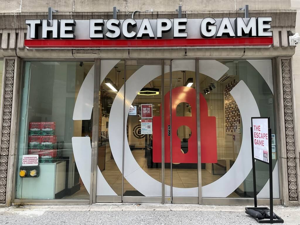 The façade of The Escape Game activity in New York City