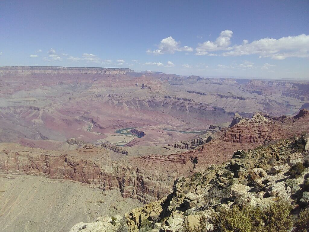 Desert view overlook with Colorado River in background